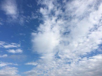 今日の空を記しておこう。雨上がり、雲は芸術的