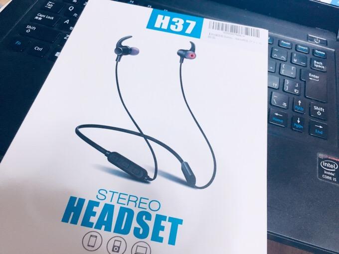 H37 Bluetoothのワイヤレスイヤホン マグネットでネックレスみたいになるノイズキャンセルヘッドホン。