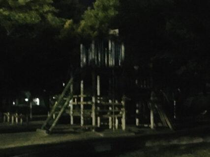 夜の公園の滑り台の写真を撮ろうとしたら人がいた。びびった【今日の一枚】